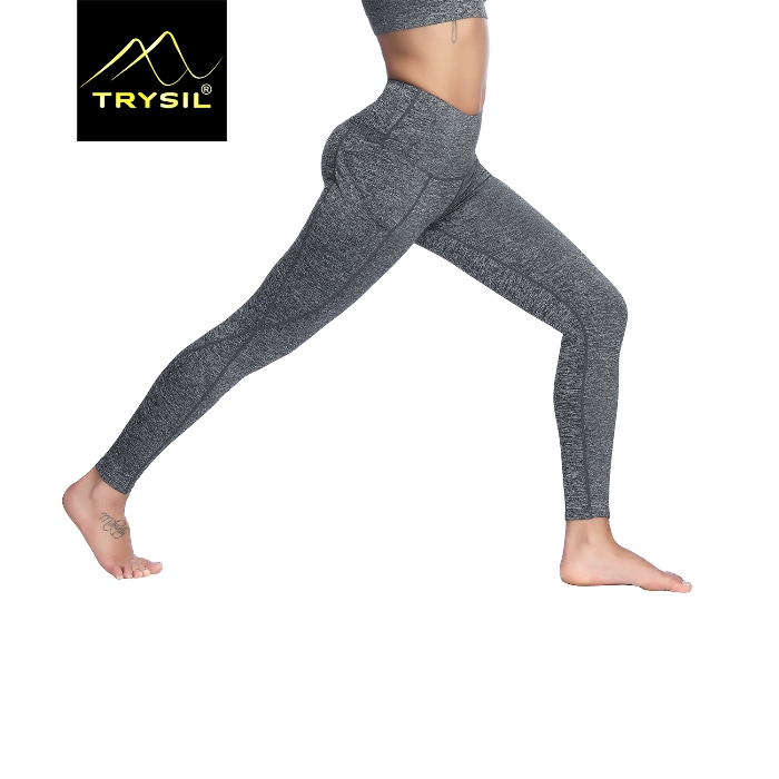 aaded2bf22592 WOMEN GREY PLAIN YOGA LEGGINGS BLANK GYM TROUSERS WORKOUT PANTS ...